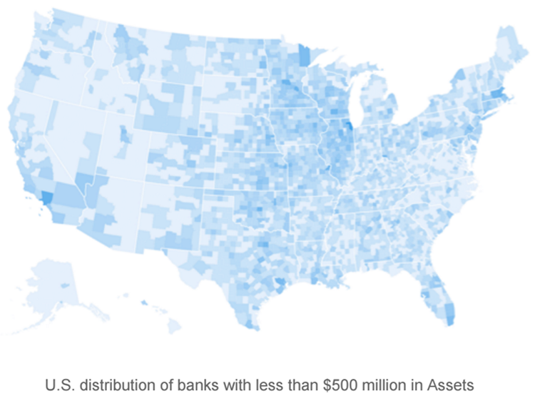 U.S distribution of banks with less than $500 million in assets